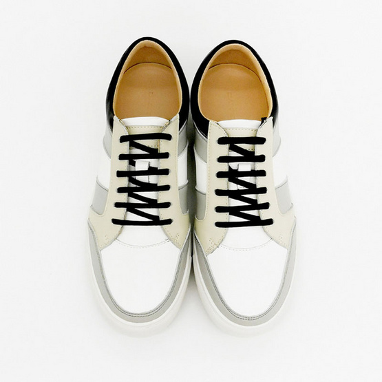 Dapper รองเท้าผ้าใบ Grey Colour Block Leather Lace-Up Sneaker