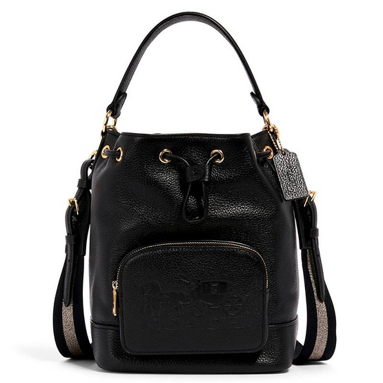 Coach 1898 JES DRAWSTRING BUCKET BAG WITH HORSE AND CARRIAGE (IMBLK)