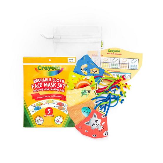 SchoolMaskPack Crayola เซ็ตหน้ากากผ้า ลาย Craymoji Colors (ขนาดเล็ก) 1แพ็ก5 ชิ้น