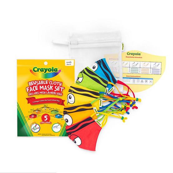 SchoolMaskPack Crayola เซ็ตหน้ากากผ้า ลาย Tip Faces (ขนาดเล็ก) 1แพ็ก5 ชิ้น