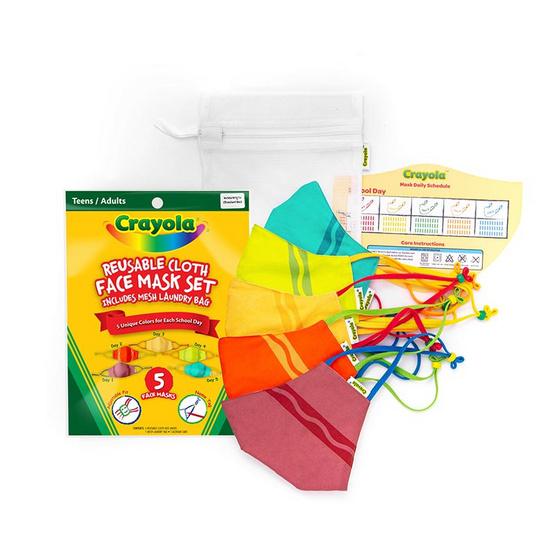SchoolMaskPack Crayola เซ็ตหน้ากากผ้า ลาย Crayola Stripe (ขนาดมาตรฐาน) 1แพ็ก5 ชิ้น
