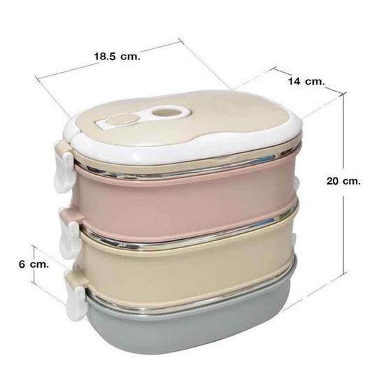 RRS ปิ่นโตเก็บความร้อน 3 ชั้น 2.7 ลิตร สีพลาสเทล
