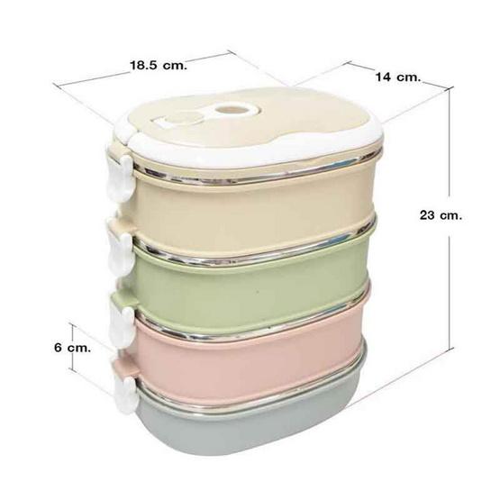 RRS ปิ่นโตเก็บความร้อน 4 ชั้น 3.6 ลิตร สีพลาสเทล