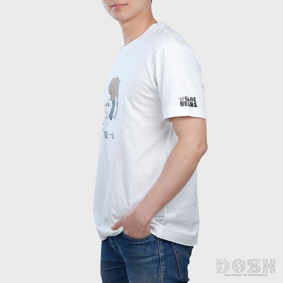 DOSH เสื้อยืดคอกลมแขนสั้นผู้ชาย ลายWE BARE BEARS รุ่นFBBMT5000-WH สีขาว