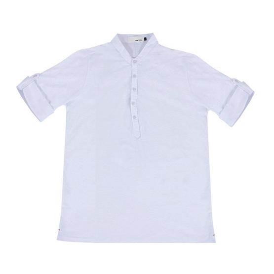 Tepp Simply เสื้อยืด แขนยาว พับแขน คอเฮนรี่ ขาว