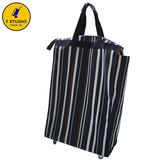 Tstudio กระเป๋าถุงผ้า 4 ล้อหมุน7725 สีดำ