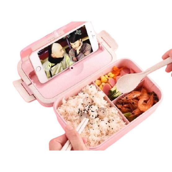กล่องใส่อาหาร+ช้อน+ตะเกียบ อเนกประสงค์ 3 ช่อง