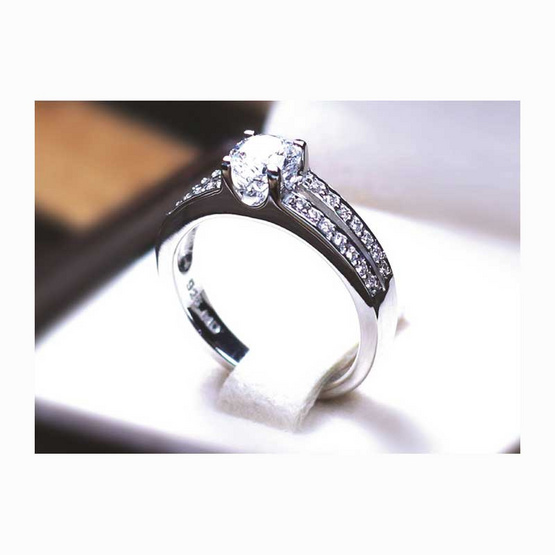 Madduckjewels RG1502 แหวนเงินแท้ เพชร CZ ชุบโรเดียม