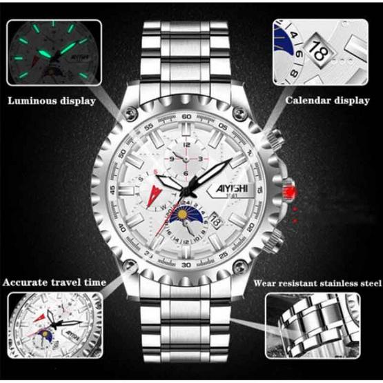 AIYISHI นาฬิกาข้อมือ รุ่น AY1661-SI/WH