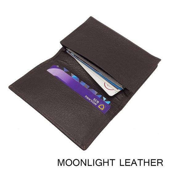 MOONLIGHT กระเป๋าใส่บัตร นามบัตร หนังวัวแท้ รุ่น Biz  สีน้ำตาลเข้ม