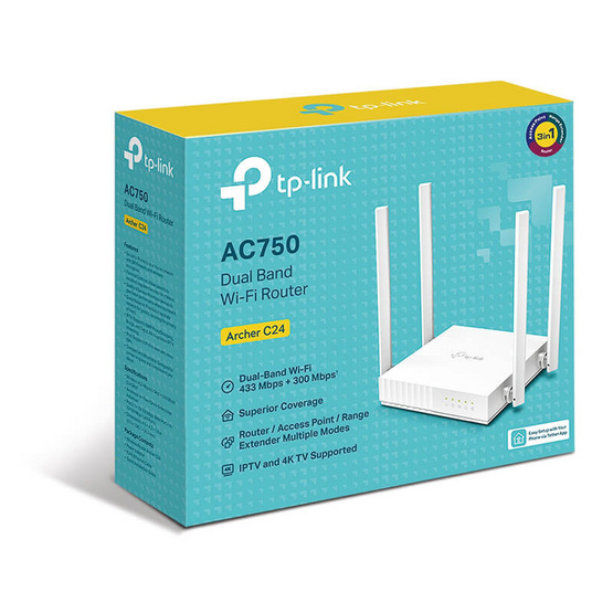 TP-Link เราเตอร์ Archer C24 AC750 Dual-Band Wi-Fi Router