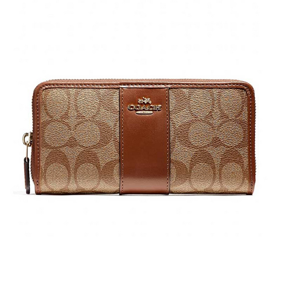 COACH F54630 ACCORDION ZIP WALLET IN SIGNATURE COATED CANVAS WITH LEATHER STRIPE (IME74)