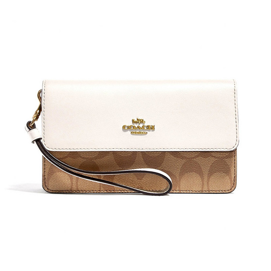 COACH F78229 FOLDOVER WRISTLET IN SIGNATURE CANVAS (IMDJ8)