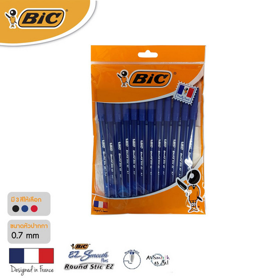 BIC ปากกาลูกลื่น Round Stic EZ 0.7 มม. (แพ็ก 12 ด้าม)