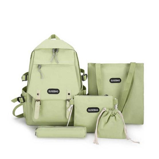 Fancybag Bag กระเป๋าเป้ SET 5 ใบ สีเขียว