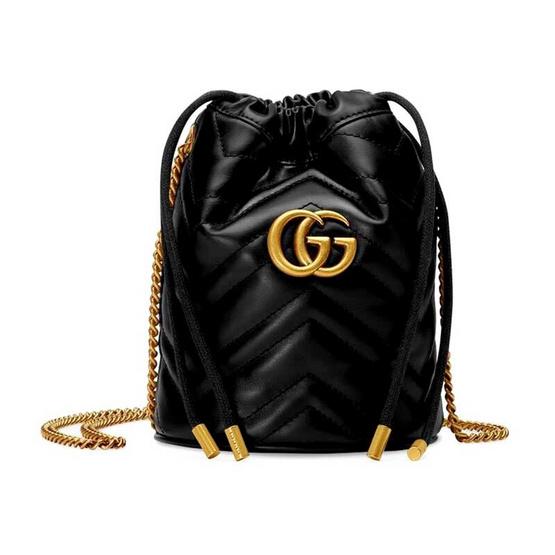GUCCI GG MARMONT MINI BUCKET BAG (BLACK CHEVRON)