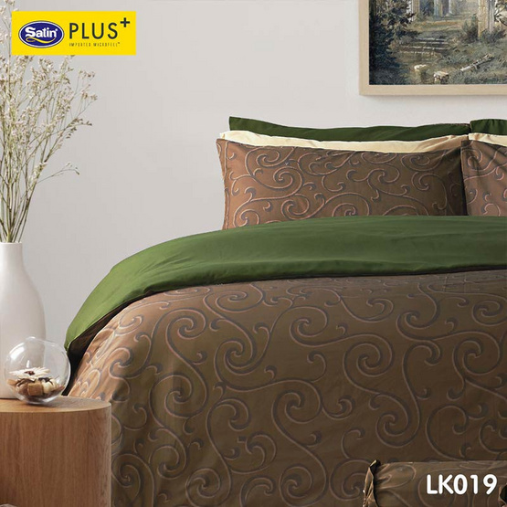 Satin Plus Luckyme ชุดผ้าปูที่นอน 6 ฟุต 5 ชิ้น ลาย LK019