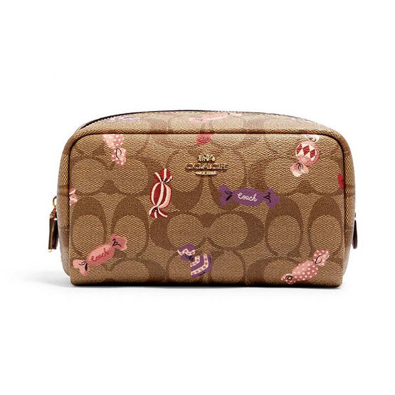 COACH C1388 SMALL BOXY COSMETIC CASE IN SIGNATURE CANVAS WITH CANDY PRINT(IME7V)