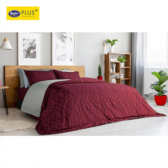 Satin Plus Luckyme ชุดผ้าปูที่นอน 5 ฟุต 5 ชิ้น ลาย LK018