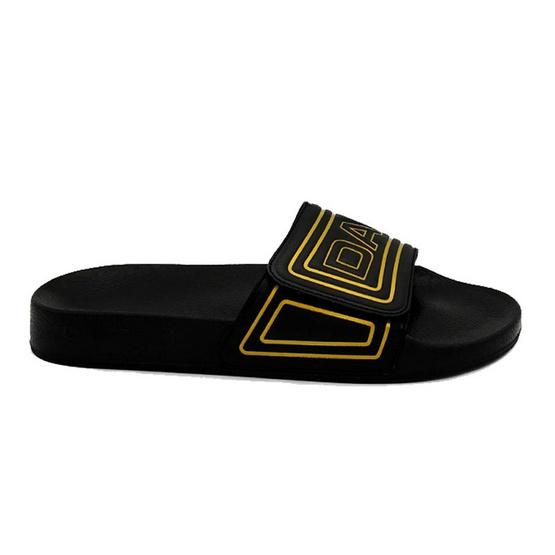 DAPPER รองเท้า รุ่น Black Velcro Strap Slide Sandals