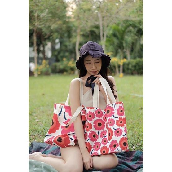 FQ&L กระเป๋าผ้า FLOWER ดอกเล็ก ( FAPCJ-002-R6-OF ) สี PINK