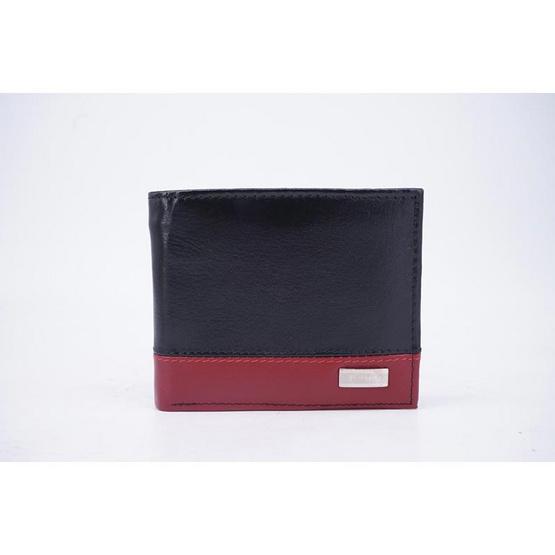 Fairy กระเป๋าธนบัตรหนังแท้ สีดำ-แดง