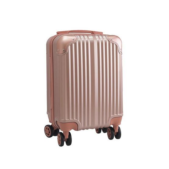 HQ LUGGAGE กระเป๋าเดินทาง PC ระบบล็อค TSA 4 ล้อคู่ รุ่น 8845 - 16 นิ้ว (สีชมพู)
