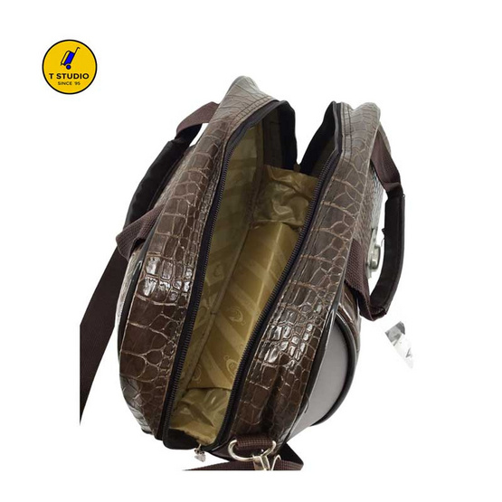 Coni Cocci กระเป๋าเดินทาง กระเป๋าถือ ขนาด 13 นิ้ว ลายจระเข้ น้ำตาลเงา