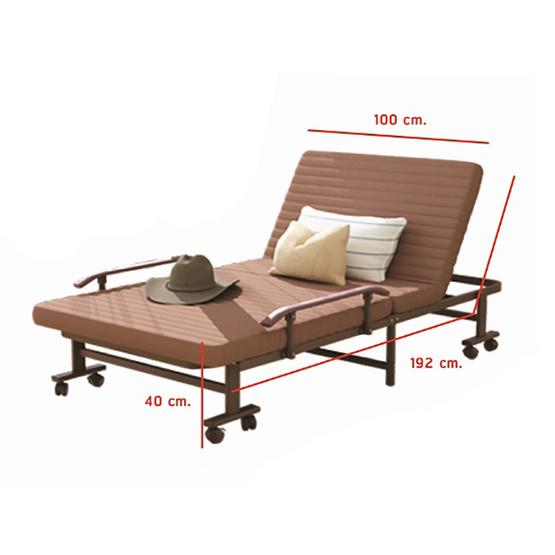 RESTAR เตียงพับ รุ่น Richmon สีน้ำตาล 100 Cm ฟรีหมอน+ผ้าห่ม