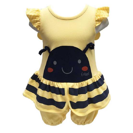 ENFANT ชุดหมีแขนสั้นลาย น้องผึ้ง มีปีก ชายระบาย สำหรับเด็กแรกเกิด ผู้หญิง
