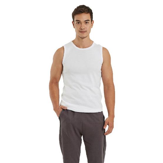 Double Goose ตราห่านคู่ เสื้อแขนกุดผู้ชาย สีขาว ทรง Slim Fit
