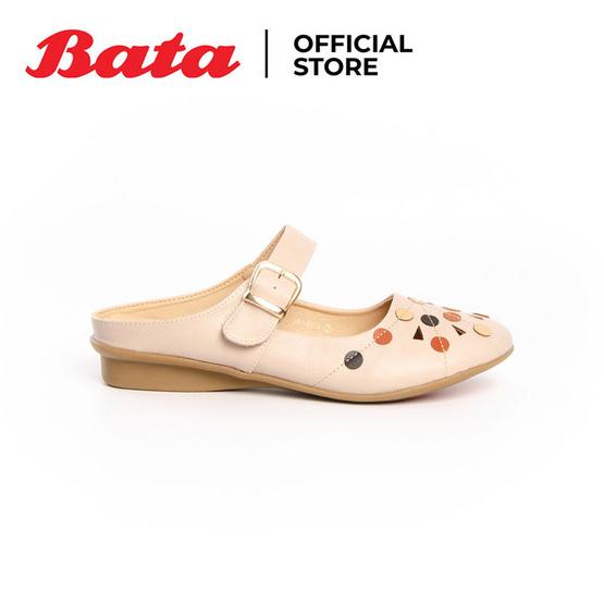 รองเท้าผู้หญิงส้นแบน (แฟลต)แบบเปิดส้น สีเบจ - 5618879