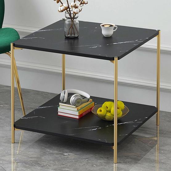 CASSA โต๊ะอเนกประสงค์แบบเหลี่ยมลายหินอ่อน สีดำ