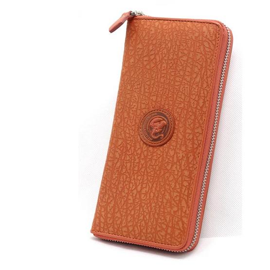 Coni Cocci กระเป๋าธนบัตรแบบซิปรอบหนังแท้อัดลายช้า สีแทน