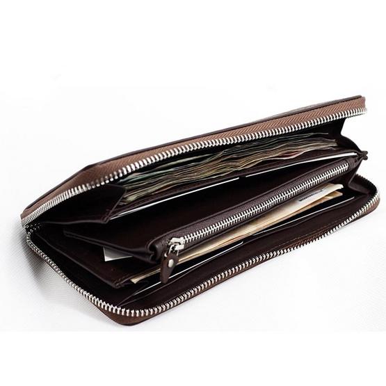 Coni Cocci กระเป๋าธนบัตรแบบซิปรอบหนังแท้อัดลายช้า สีน้ำตาล
