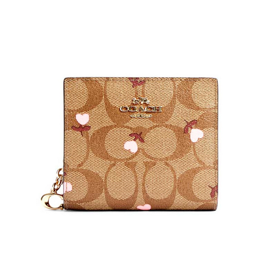 COACH C2867 SNAP WALLET IN SIGNATURE CANVAS WITH HEART FLORAL PRINT (IMQA4)
