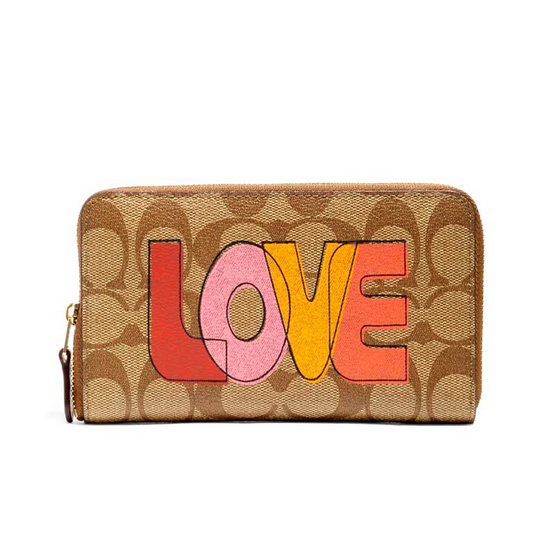 COACH C2877 MEDIUM ID ZIP WALLET IN SIGNATURE CANVAS WITH LOVE PRINT (IMLOT)