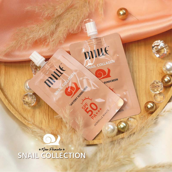 MILLE ครีมกันแดดเนื้อน้ำ Snail Collagen Watery Sunscreen SPF50 PA +++ 6 กรัม (แพ็ก 6 ซอง)
