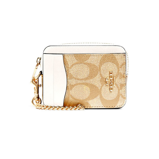 COACH C0058 ZIP CARD CASE IN SIGNATURE CANVAS (IMDQC)
