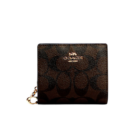 COACH C3309 SNAP WALLET IN SIGNATURE CANVAS (IMAA8)