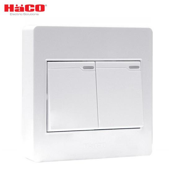 HACO ชุดสวิตซ์ 1 ทาง 2 ช่อง AP-S21 สีขาว