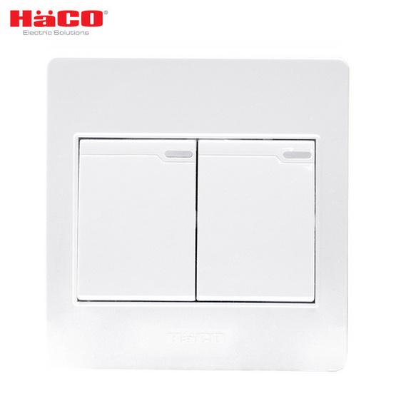 HACO ชุดสวิตซ์ 1 ทาง 2 ช่อง M3N-S21 สีขาว