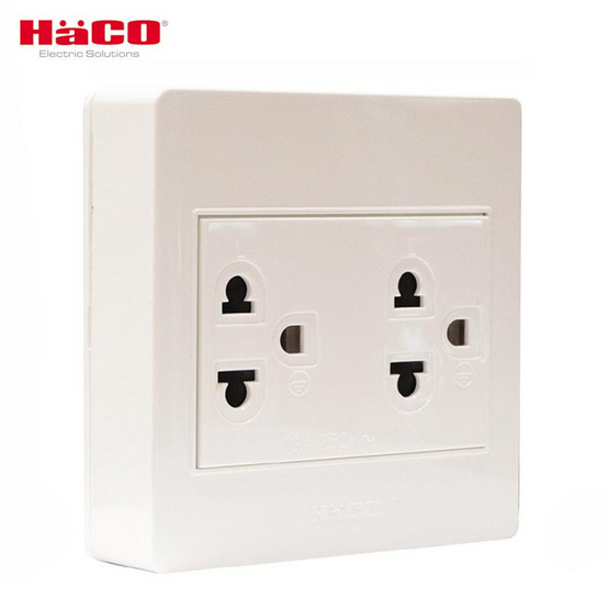 HACO ชุดเต้ารับคู่มีกราวด์3ขา M3N-E20 สีขาว