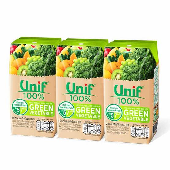 ยูนิฟ น้ำผักผลไม้รวมผสมผักใบเขียว 100% 200 มล. (แพ็ก 3 กล่อง)
