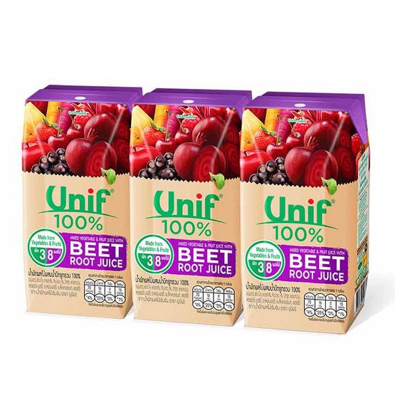 ยูนิฟ น้ำผักผลไม้ผสมบีทรูท 100% 200 มล. (แพ็ก 3 กล่อง)