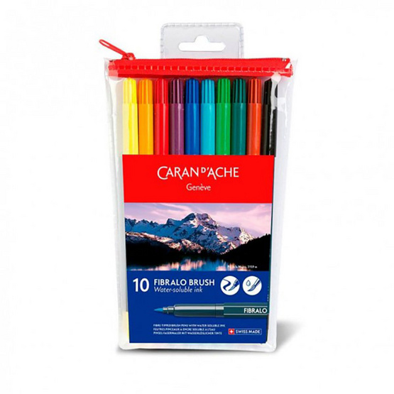 Caran D'Ache ชุดปากกาหัวพู่กันระบายน้ำ 10 สี 186.710