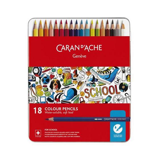 Caran D'Ache ชุดสีไม้ระบายน้ำ รุ่น School Line 18 สี กล่องโลหะ 1290.318