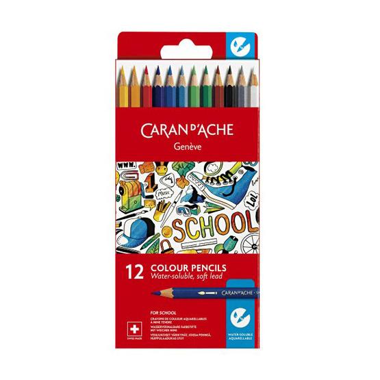 Caran D'Ache ชุดสีไม้ระบายน้ำ รุ่น School Line 12 สี กล่องกระดาษ 1290.712