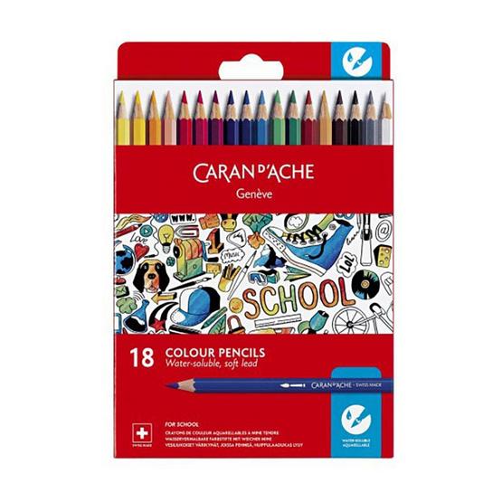 Caran D'Ache ชุดสีไม้ระบายน้ำ รุ่น School Line 18 สี กล่องกระดาษ 1290.718
