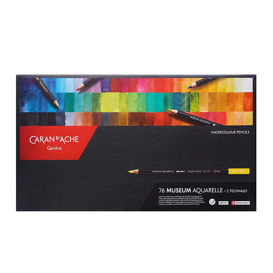 Caran D'Ache ชุดดินสอสีไม้ระบายน้ำ Museum Aquarelle 76 สี + พร้อมดินสอสเก็ตซ์ ระบายน้ำ (Techanalo) 3510.376